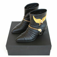 Giuseppe Zanotti $1,938 Gold Metal Winged Star Cuban Heel Zipper Boots 38.5
