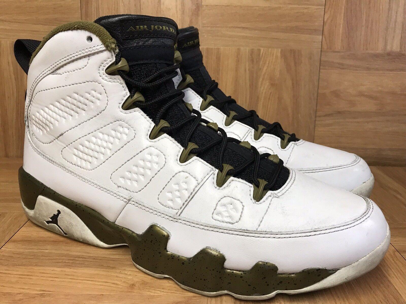 RARE Nike Air Jordan 9 IX Retro Statue White Militia Green Black 10 302370-109