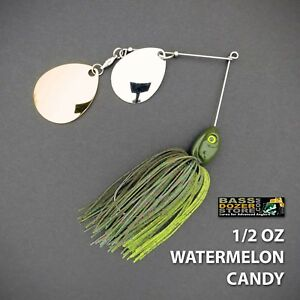 Bassdozer-spinnerbaits-DOUBLE-THUMPER-1-2-oz-WATERMELON-CANDY-spinner-bait