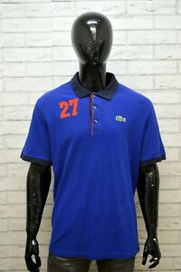 LACOSTE-Polo-Uomo-Taglia-8-2XL-Maglia-Cotone-Manica-Corta-Shirt-Man-Regular-Blu