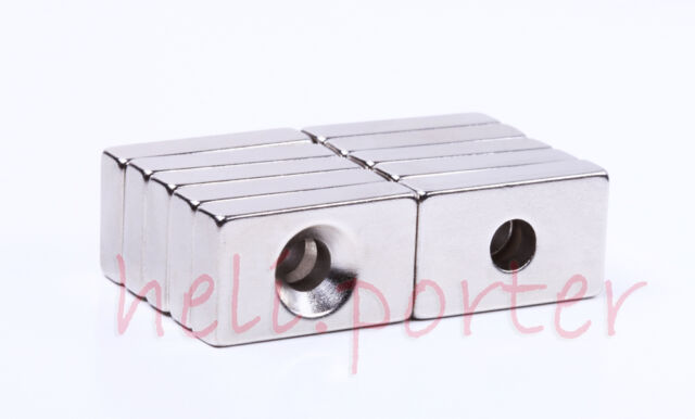 25x15 x6mm:6mm Hole Block Earth Neodymium Super strong Magnets N35 Craft Model
