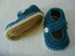 Hand Knitted Baby Chaussons-turquoise Sur Crème - 0-3 Mois Bnwt-afficher Le Titre D'origine