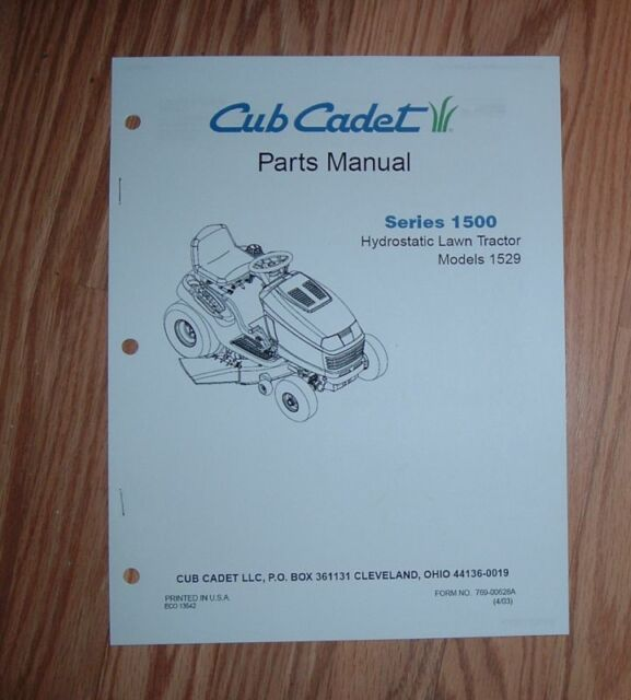 Cub Cadet 1529 Parts Manual With Diagrams