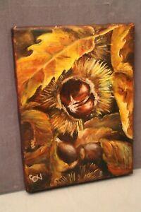 Tableau signé huile sur toile Nature Morte aux châtaignes