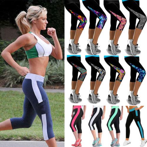 Womens Leggings Capri Pants Yoga Sport Compression Running Gym Cropped Trousers