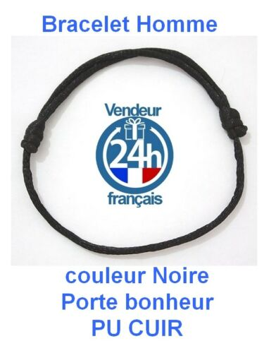Bracelet HOMME MARRON Réglable Kabbale Porte bonheur chance PU CUIR Envoi 24H