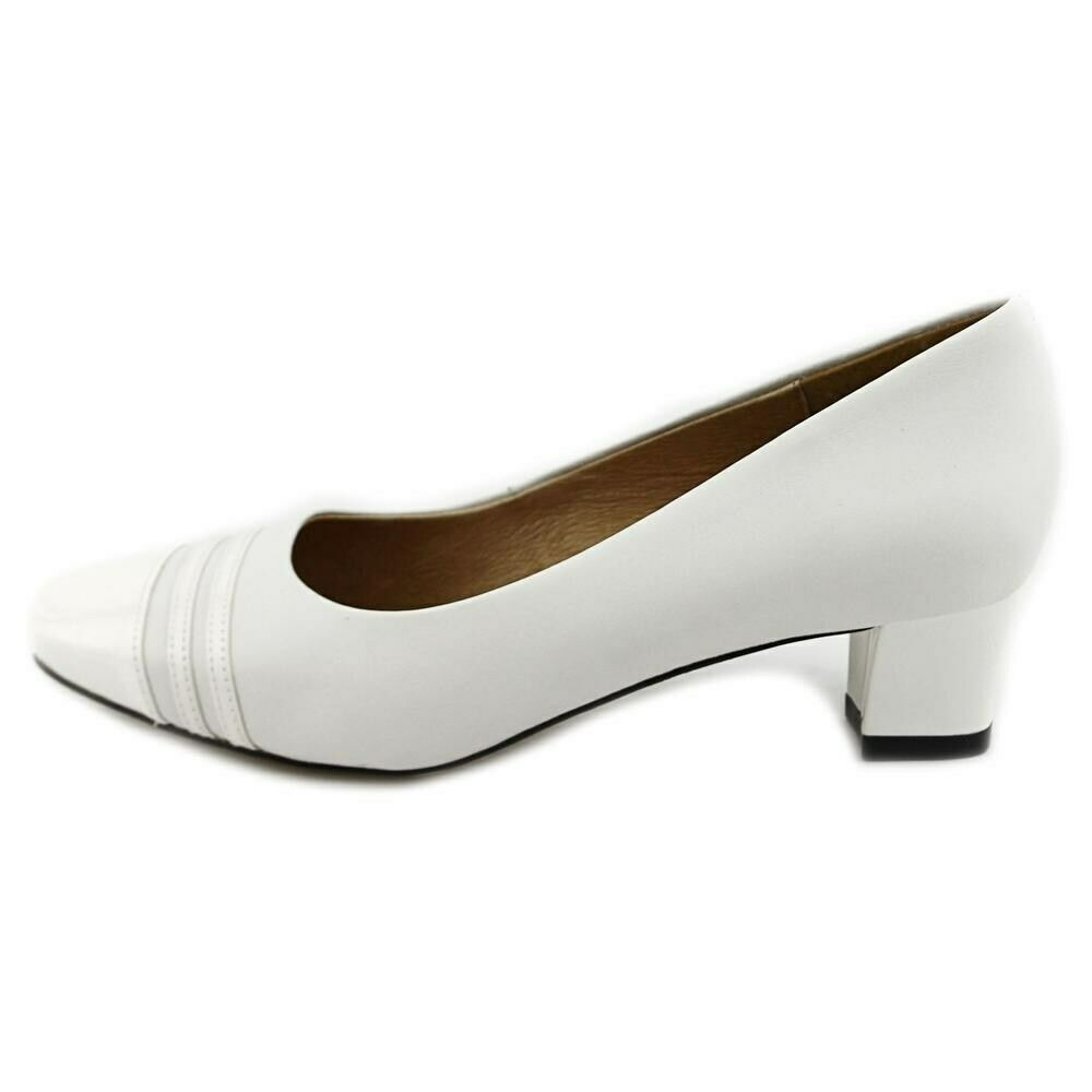 Auditions Womens Classy Leather Square Toe Classic Pumps, White white, Size