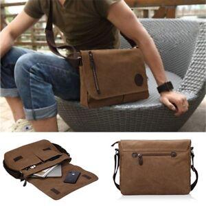 Vintage Canvas Leather Satchel Messenger Bag Crossbody Laptop Shoulder Bag Mens
