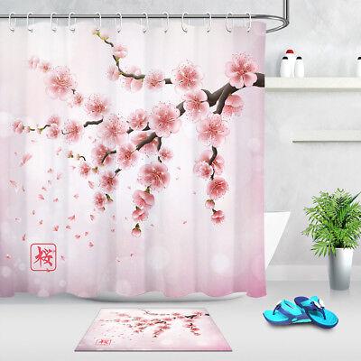 Pink Japanese Cherry Blossoms Flowers Fabric Shower Curtain Digital Art Bathroom