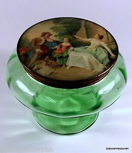 Antique French Green Art Glass Powder Box with Celluloid Lid