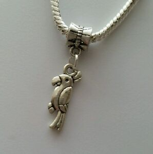 Silver-Tone-Bird-Slider-Dangle-Charm-Bead-For-European-Bracelets-Necklace