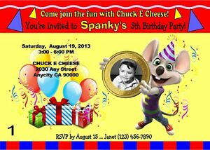 image regarding Chuck E Cheese Printable Invitations identified as Information concerning CHUCK E CHEESE Tailor made PRINTABLE BIRTHDAY Bash INVITATION  Free of charge THANK U CARD