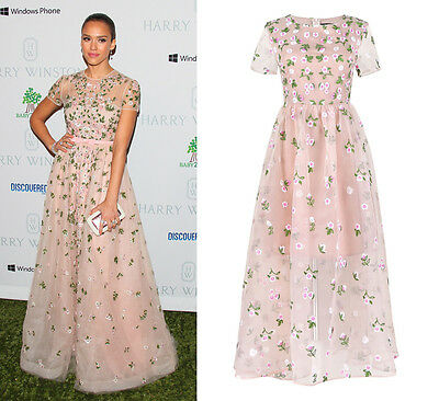 Nude Green Floral Embroider Embellished Dress Tulle Organza Maxi V Jessica Alba