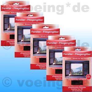 5x-FENSTER-FLIEGENGITTER-FLIEGENNETZ-130-x-150-cm-schwarz-Moskito-Insekten-Netz