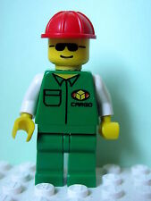 LEGO Minifig car007 @@ Cargo - Green Shirt, Red Construction Helmet 6330
