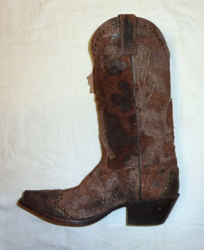 Sonora SN1043 Size 6B Ladies Riley Rough-Out Snip Toe Cowgirl Western Boot BROWN