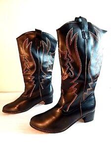 45ef65f24bb Details about Nos Funtasma Black Cowboy Country Western Boots Vegan  Vegetarian Costume Large12
