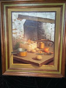 Vintage-Oil-Painting-Still-Life-Vegetables-On-Table-V-Signed-Watson-1960s