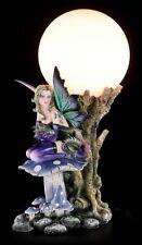 Elfen Tischlampe - Keona mit Drachenbaby auf Pilz - Figur Nachtlicht Fee Statue