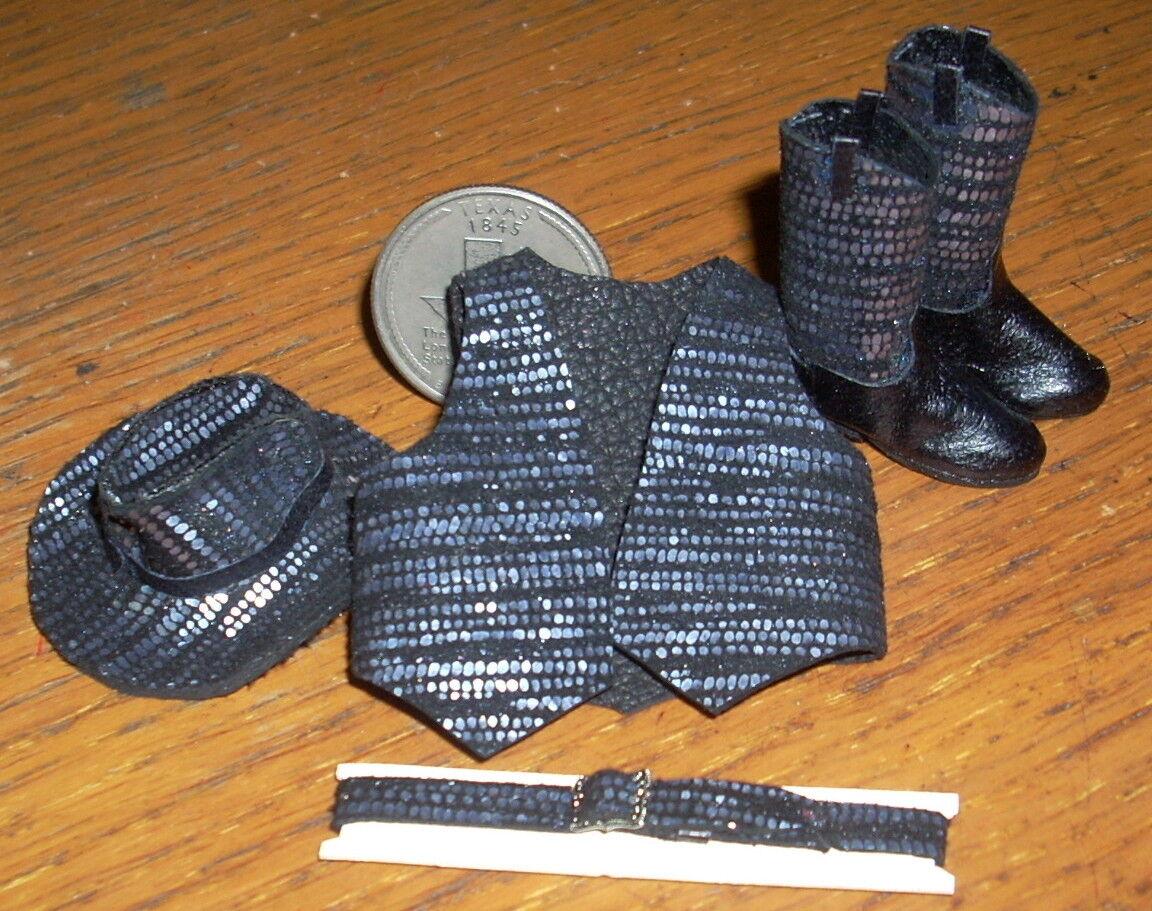 Casa de muñecas en miniatura Prestige Cowgirl Plata Negro Rodeo c19-bbhv botas 1 12