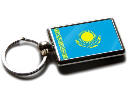 Kasachstan Flagge National Farben Hochwertig Chrom Schlüsselring Bild