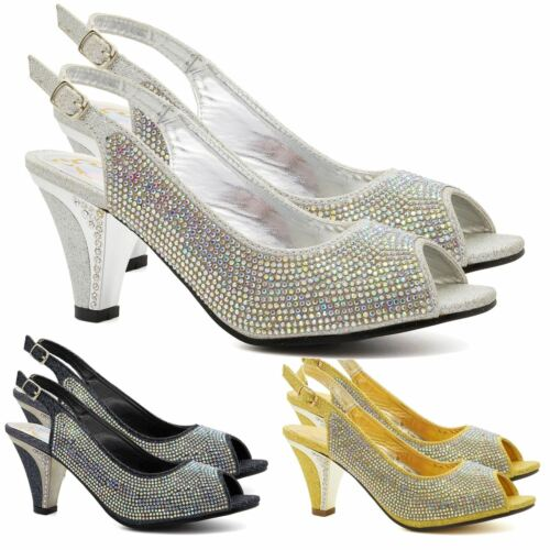 New Womens Diamante Low Mid Kitten Heels Sandals Ladies Bridal Wedding Shoes 3-8