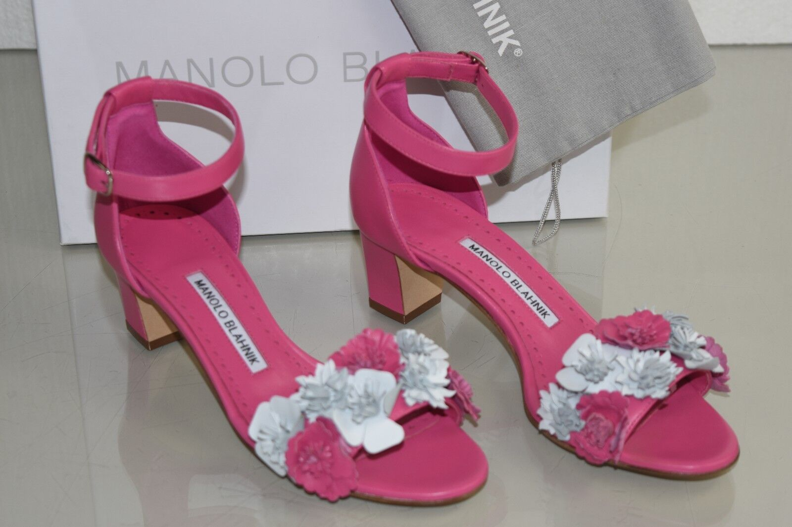 895 New Manolo Blahnik Laurfior 50 Pink Flower Floral Sandals shoes 36 40.5
