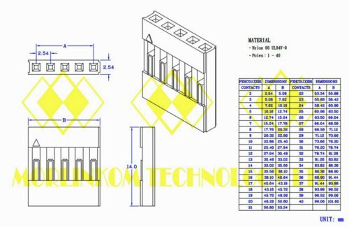 100pc Dupont Connector Housing Female 2.54mm 1x8P 8P UL RoHS Taiwan 710-08-80