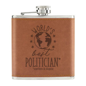 World-039-s-Best-Politicien-170ml-Cuir-PU-Hip-Flasque-Fauve-Worlds-Best-Prefere