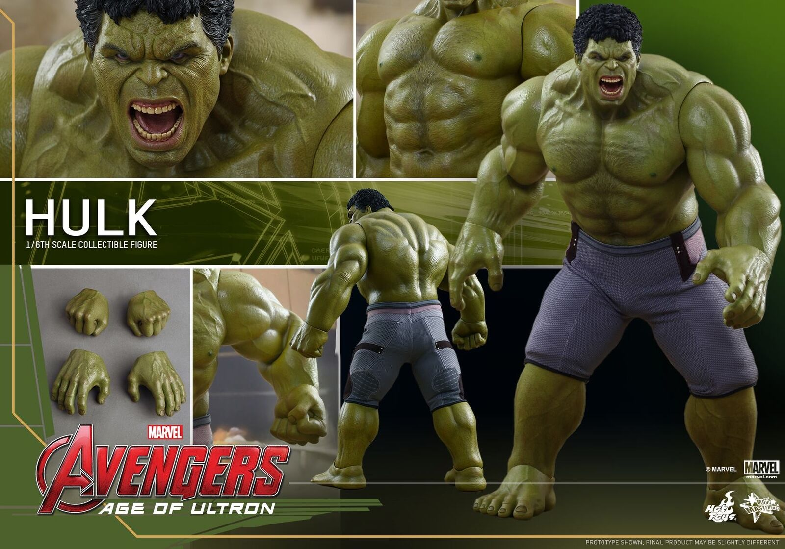 HOT TOYS 1/6 mms286 Avengers Age of Ultron Hulk 42cm Masterpiece Action Figure