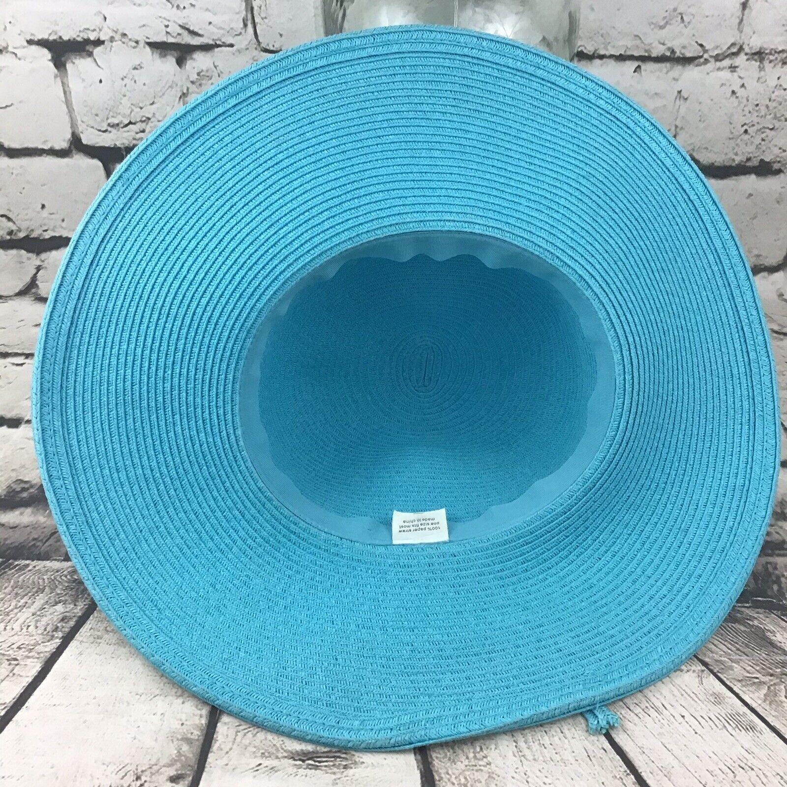 Womens OSFA Hat Sky Blue Straw Wide Brim Floppy S… - image 5