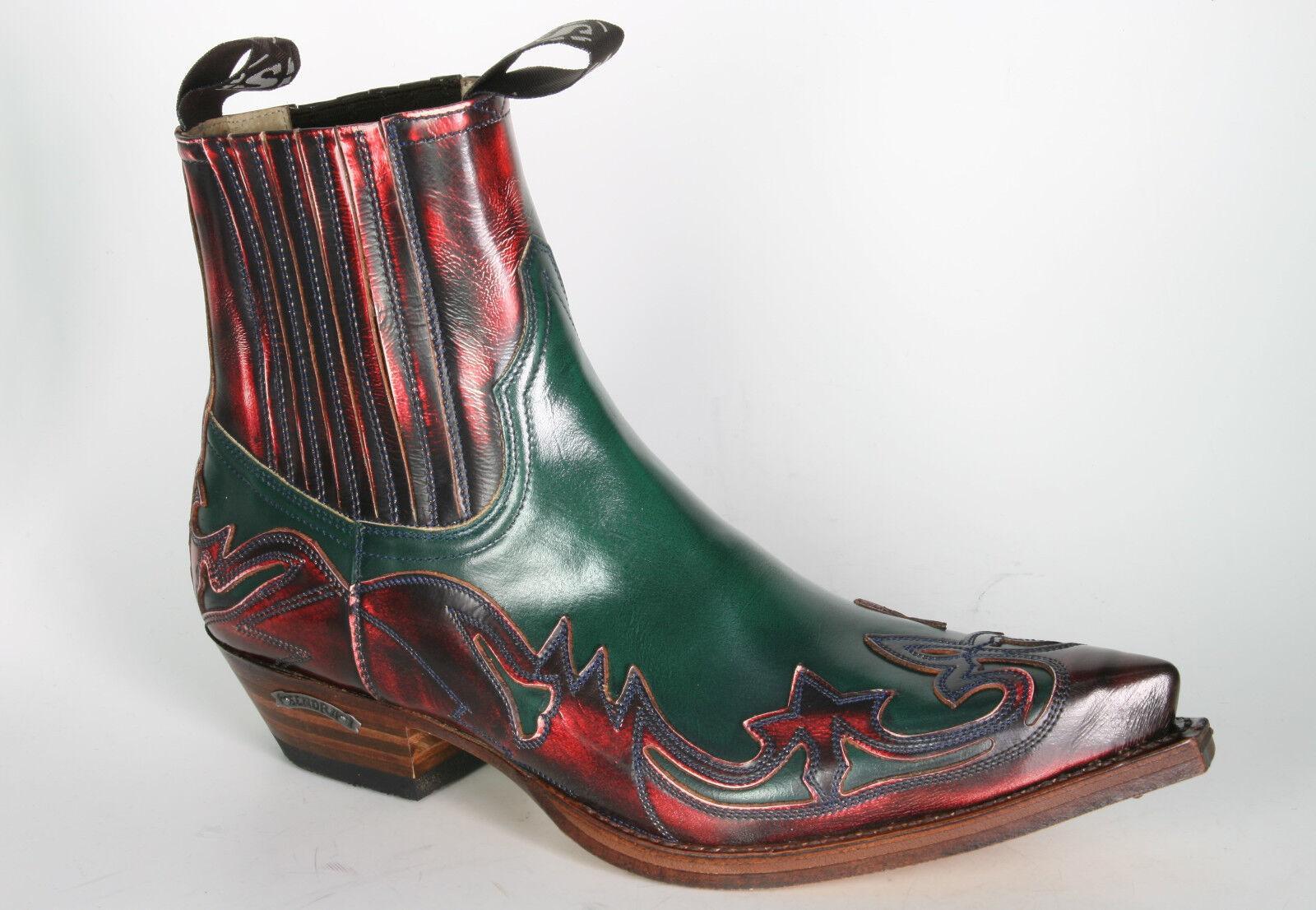 4660 Sendra Stiefeletten Denver Rojo Flor. Verde Cowboystiefel