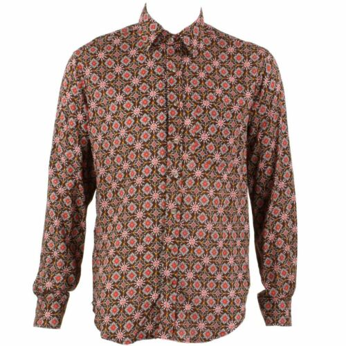 Homme haut shirt retro psychédélique festival fête funky abstract brown regular