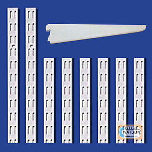 WHITE-Twin-Slot-Shelving-System-Uprights-Brackets-Twinslot-Adjustable-Racking
