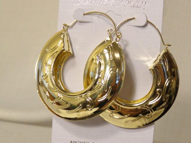 Bohemian Egyptian Earrings 2 25 Inch Gold Tone Hoops Swirl Design Lightweight
