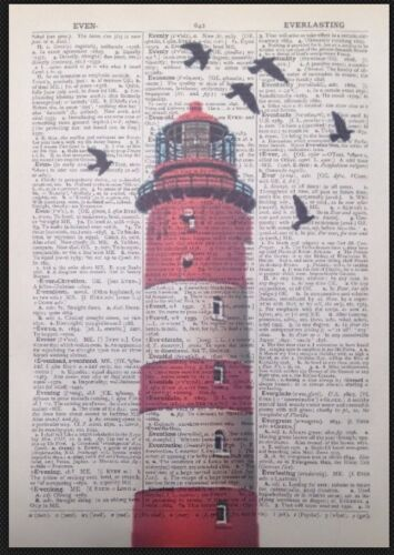 Vintage Red Lighthouse Dictionary Page Print Picture Art Nautical Seaside Beach