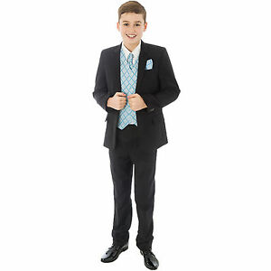 Boys-Suit-Childrens-Kids-Baby-Pageboy-Wedding-Formal-Smart-Black-Blue