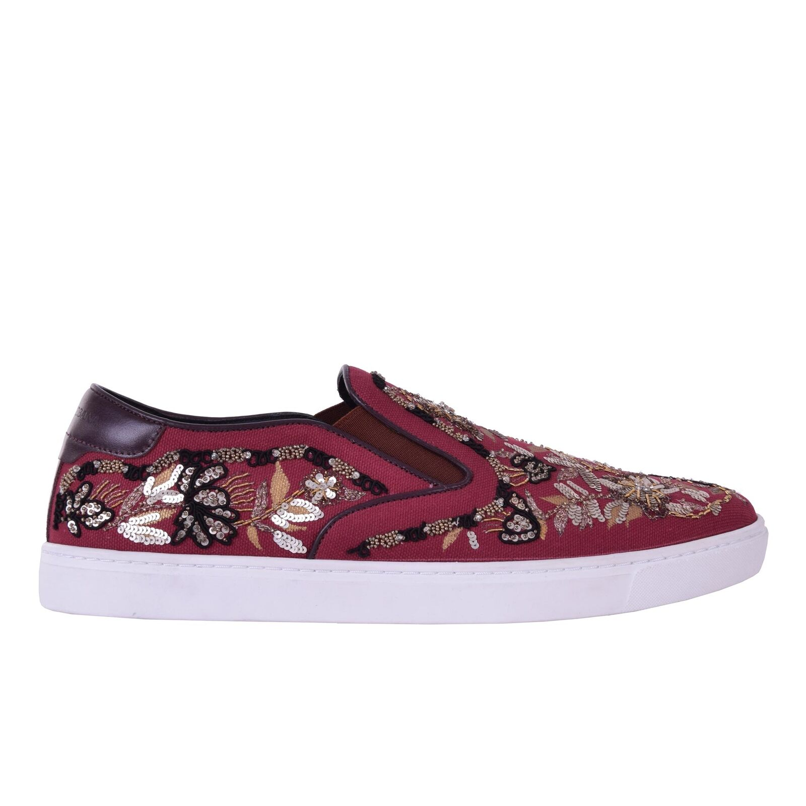 Scarpe casual da uomo  DOLCE & GABBANA Gold Embroidered Slip-On Sneaker Sneakers LONDON Shoes Red 06629
