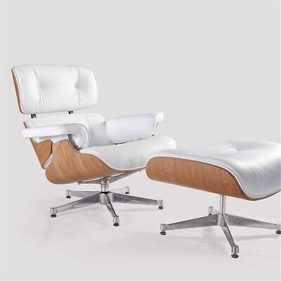 Astounding White Genuine Leather Eames Lounge Chair And Ottoman Ashwood Top Quality Ebay Uwap Interior Chair Design Uwaporg