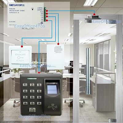 Fingerprint Access Control + Bolt Lock + Power Supply and Exit Button+Door Bell