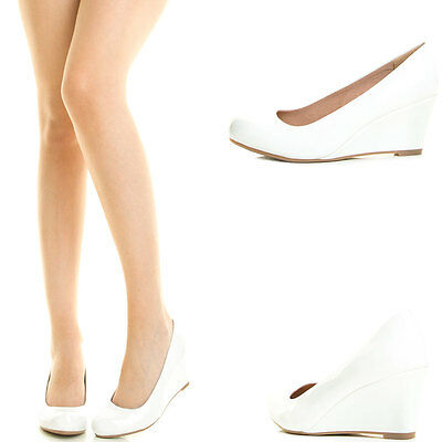 White Round Toe Med Low Wedge Heel Slip On Womens Pump Shoe Dress Bridal Wedding