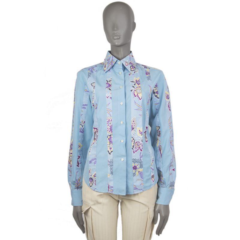 53937 auth ETRO light bluee FLORAL cotton Blouse Button Down Shirt 48 XXL
