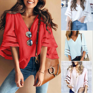 Women-Flare-Sleeve-Blouse-Top-Fashion-Boho-Loose-Shirt-T-Shirt-Plus-Big-Size