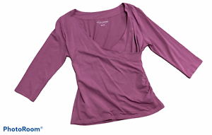 Woman's SOFT SURROUNDINGS Purple 3/4 Sleeve Blouse Top Shirt Petite Size Small P