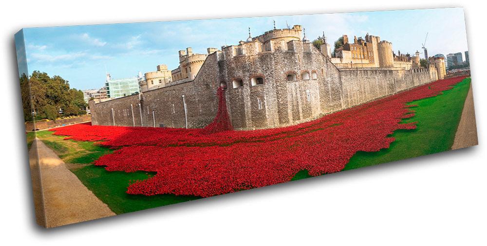 Tower of London Poppies City SINGLE TOILE murale ART Photo Print