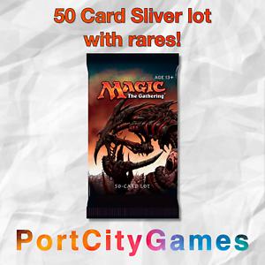 50-Card-Sliver-lot-Magic-MTG-w-Rares-FREE-bonus-Rares-amp-Booster-Packs