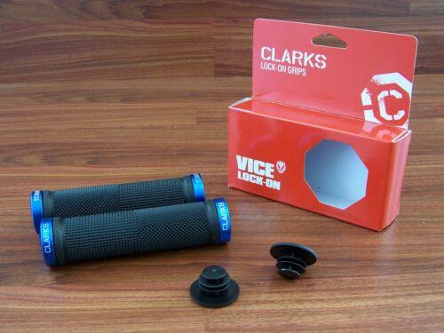 MOUNTAIN BIKE MTB LOCKING LOCK-ON BAR GRIPS BLACK//BLUE