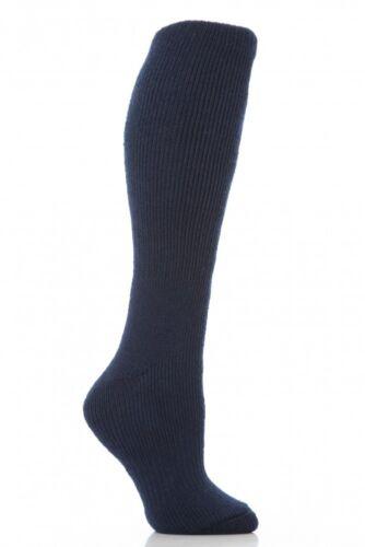 Ladies Long Knee High Thermal Heat Holders Socks 4-8 uk 5-9 us Navy 37-42 eur