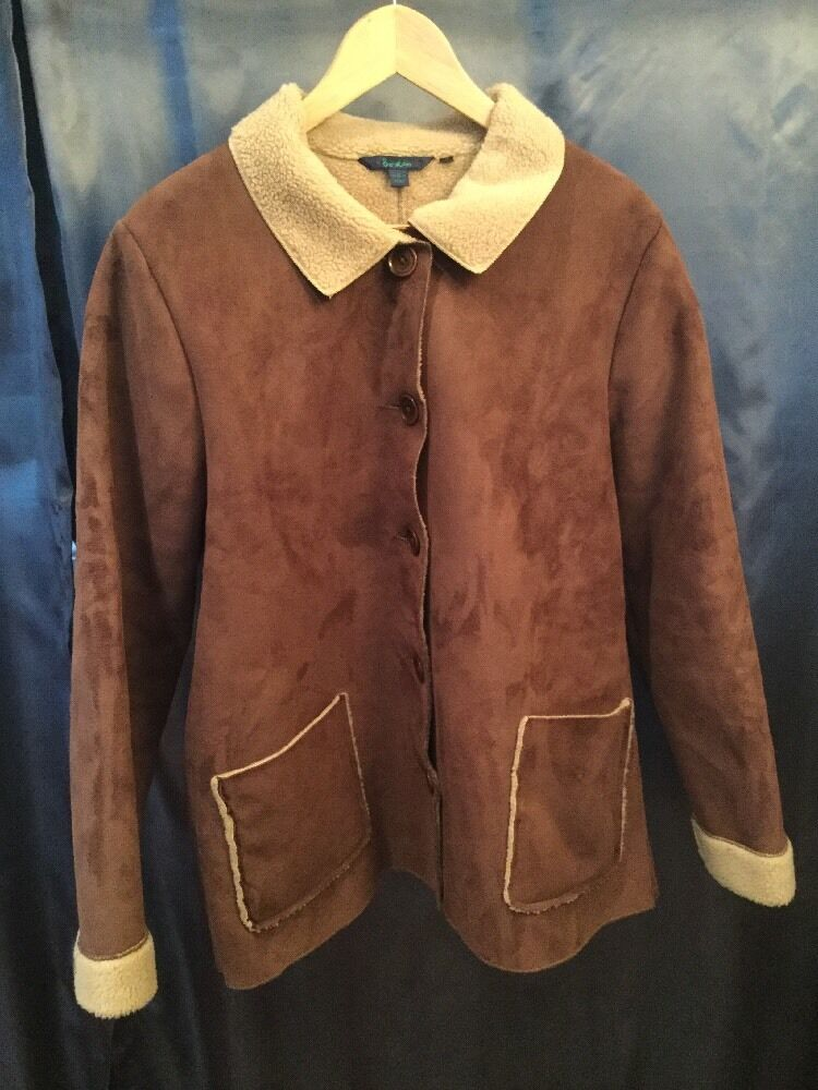 Boden Brown Faux Suede Jacket With Fuzzy Interior, Size 12 (US), 16 (UK)