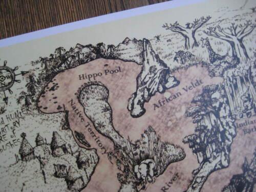 Vintage Disney Jungle River Map B2G1F Collector/'s Poster Print